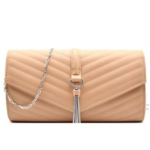 Nude Quilted Clutch